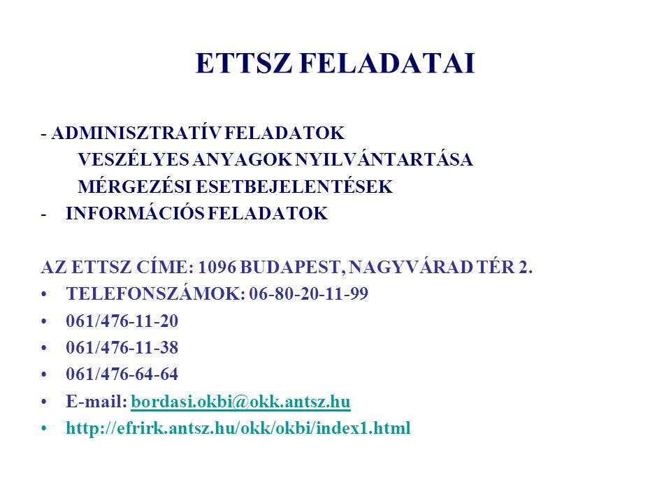 ETTSZ FELADATAI - ADMINISZTRATÍV FELADATOK