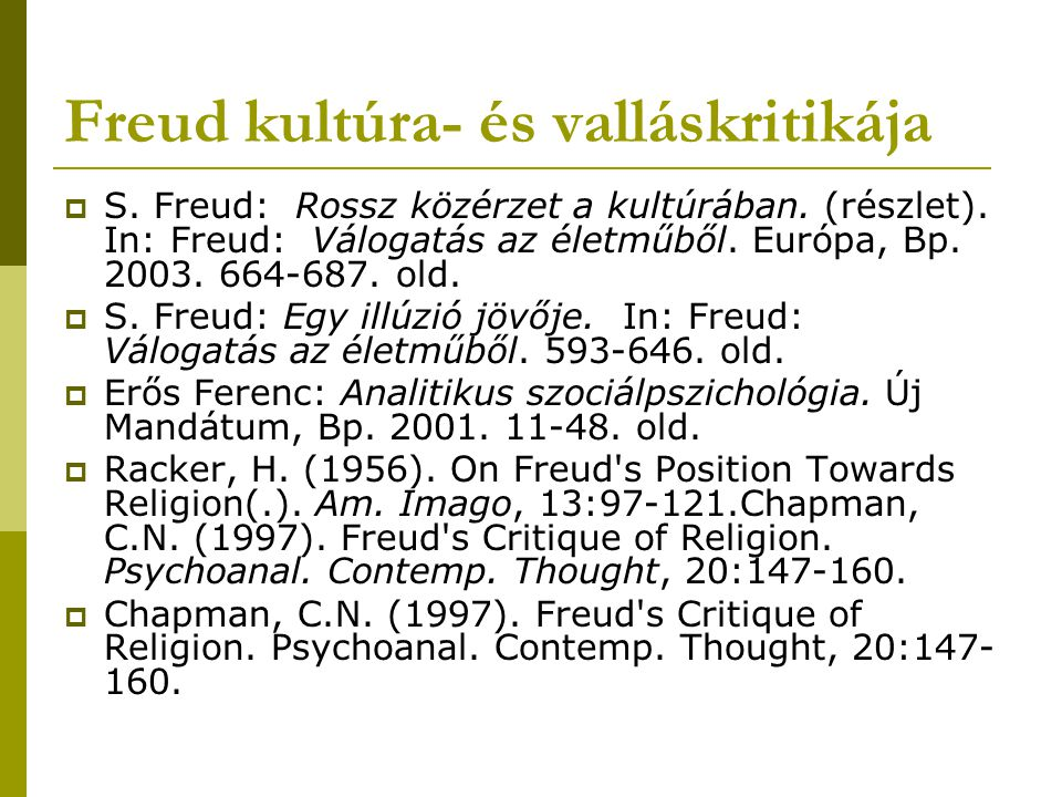 Freud kultúra- és valláskritikája