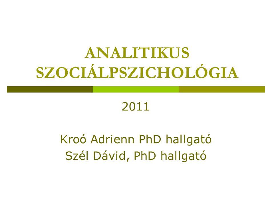 ANALITIKUS SZOCIÁLPSZICHOLÓGIA
