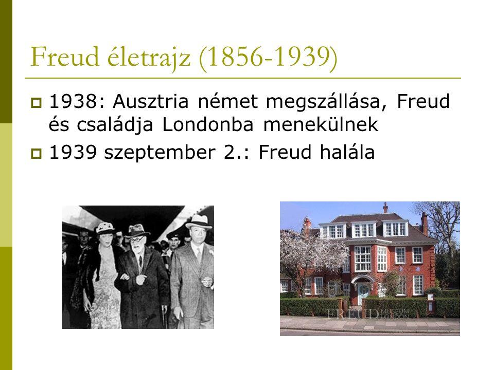 Freud életrajz (1856-1939) 1938: Ausztria német megszállása, Freud és családja Londonba menekülnek.