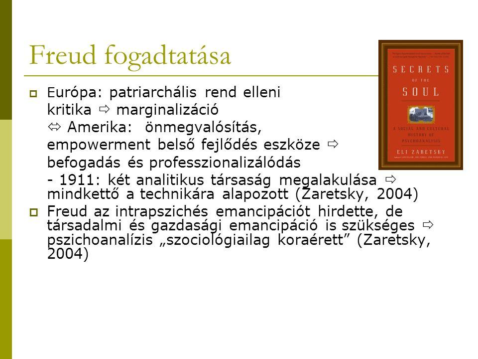 Freud fogadtatása kritika  marginalizáció  Amerika: önmegvalósítás,