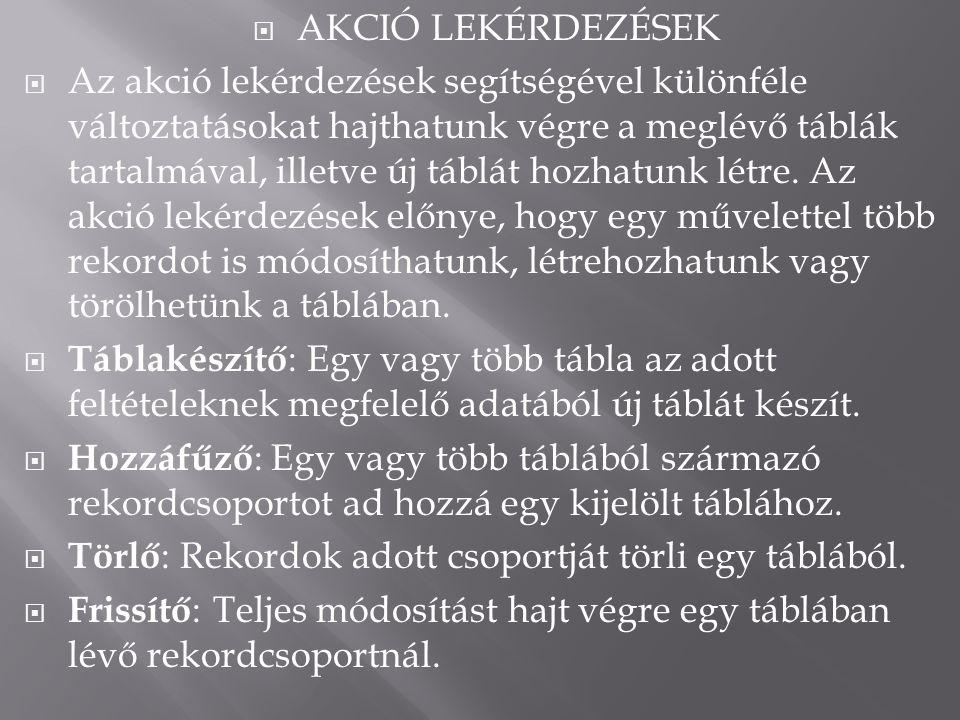 AKCIÓ LEKÉRDEZÉSEK