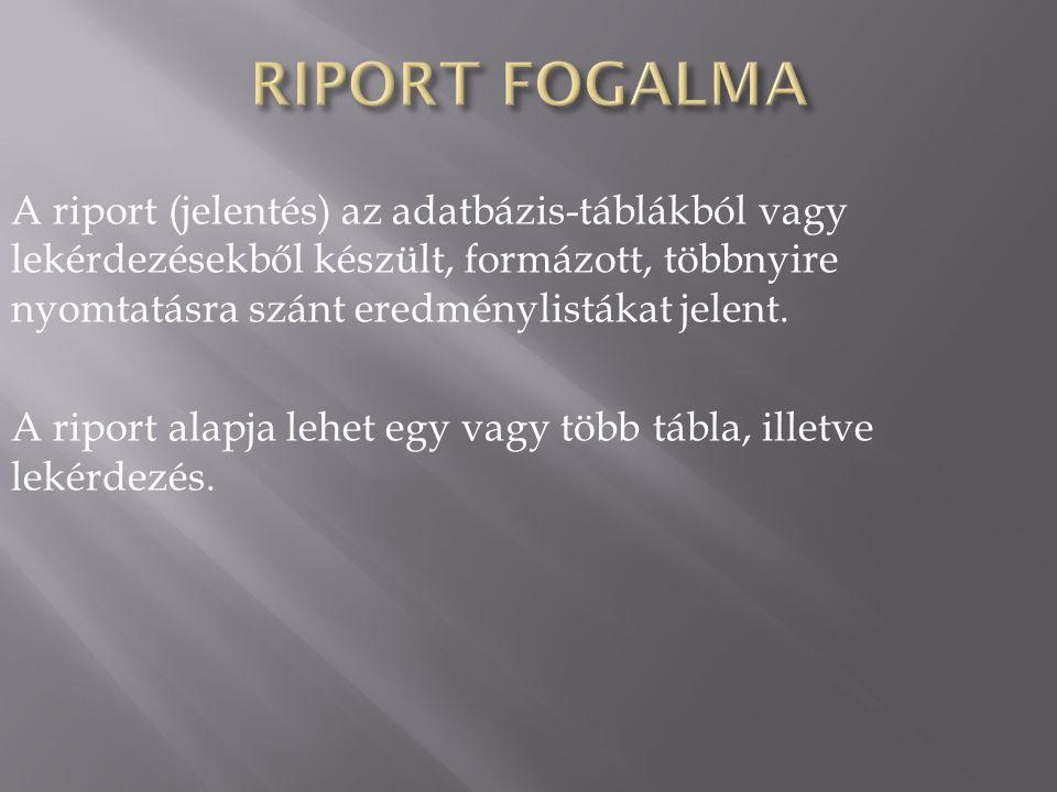 RIPORT FOGALMA