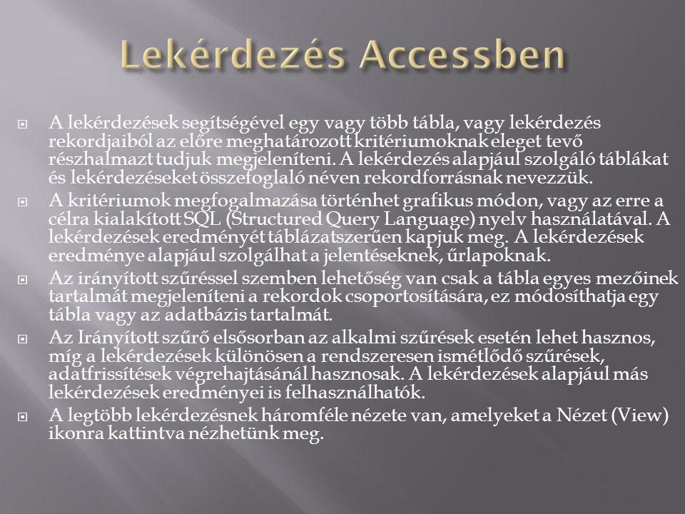 Lekérdezés Accessben