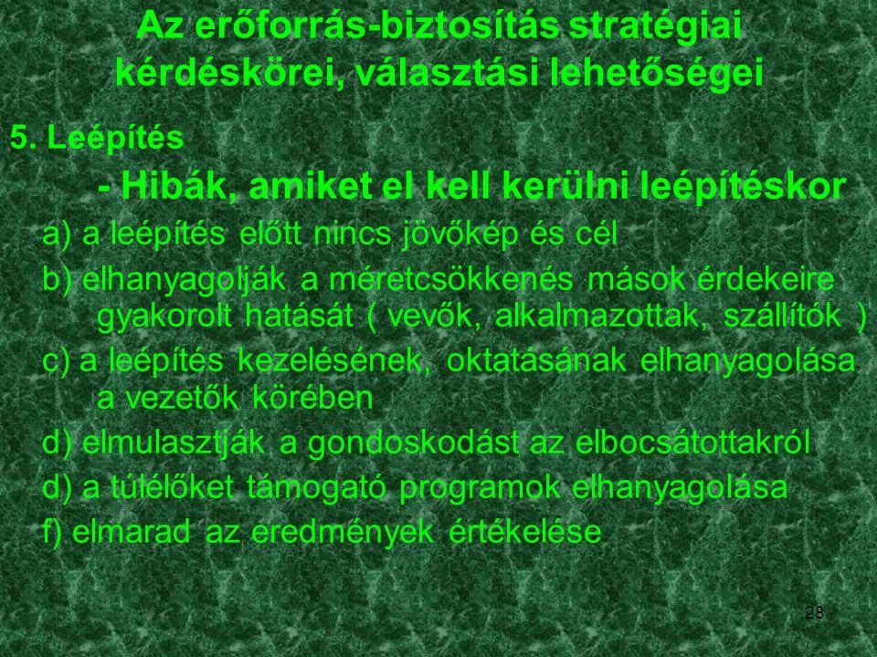 Az erőforrás-biztosítás stratégiai kérdéskörei, választási lehetőségei