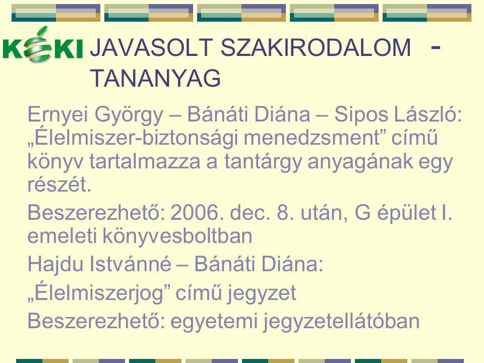 JAVASOLT SZAKIRODALOM - TANANYAG