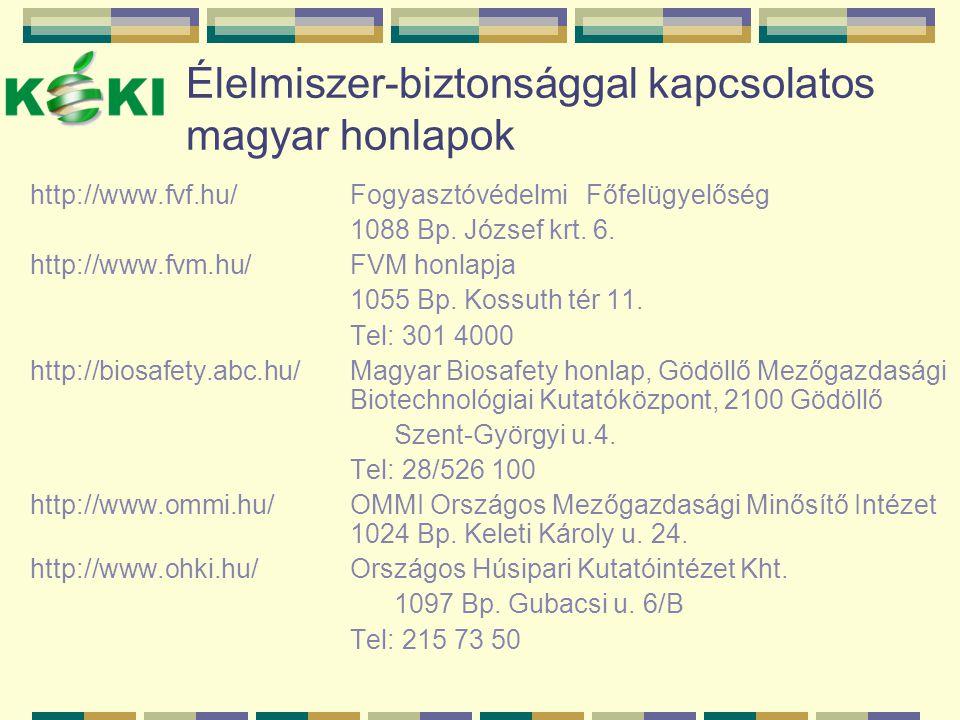 Élelmiszer-biztonsággal kapcsolatos magyar honlapok