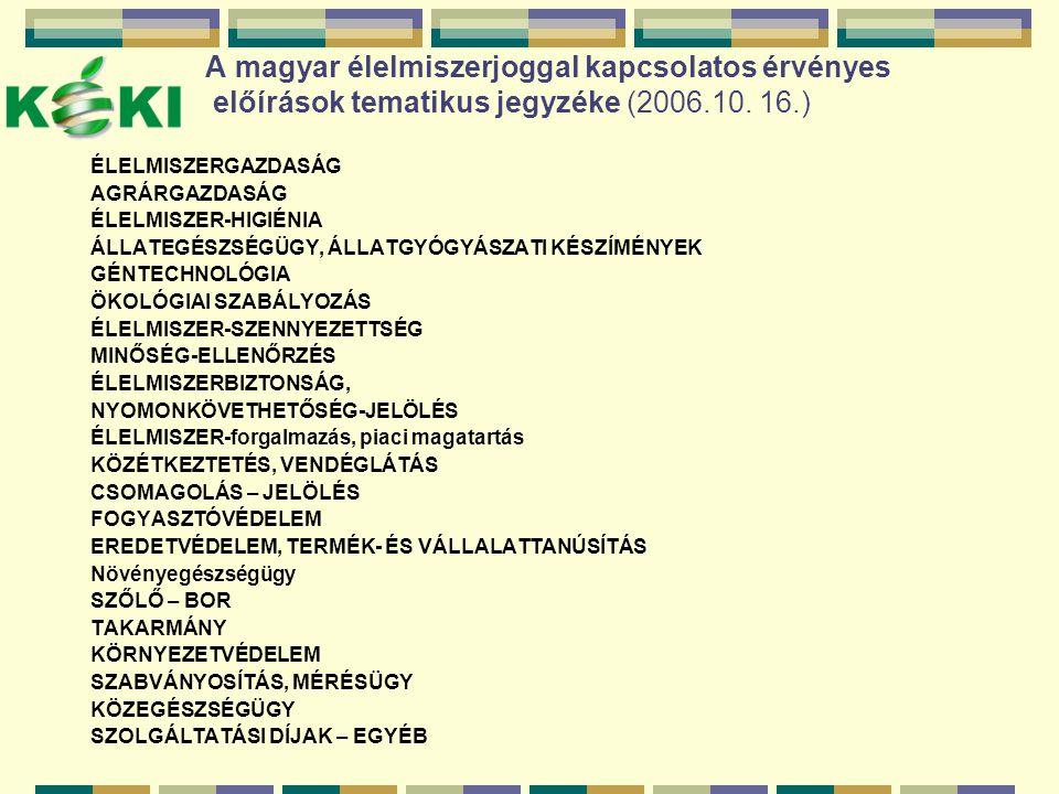 A magyar élelmiszerjoggal kapcsolatos érvényes előírások tematikus jegyzéke (2006.10. 16.)