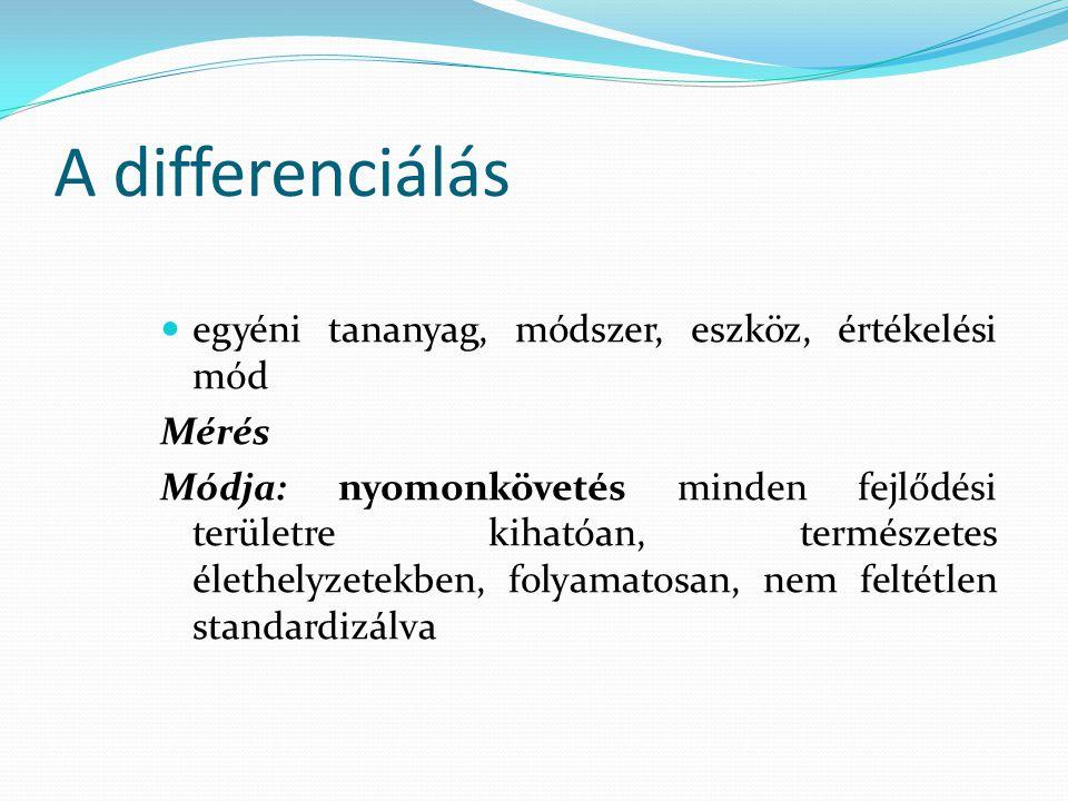 A differenciálás egyéni tananyag, módszer, eszköz, értékelési mód