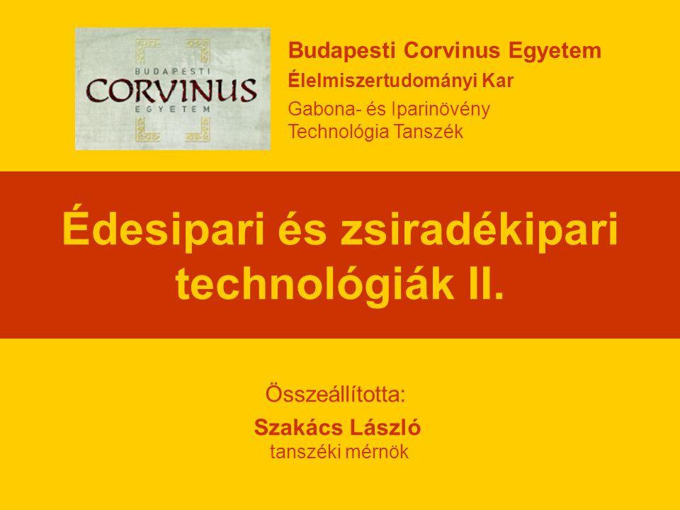 Édesipari és zsiradékipari technológiák II.