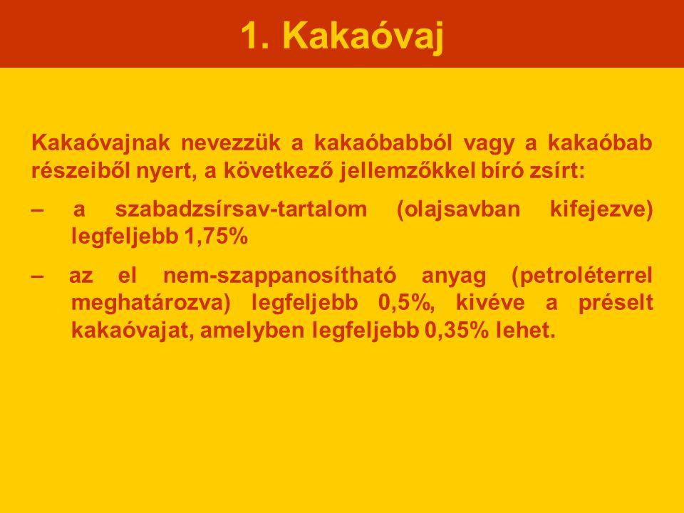 1. Kakaóvaj Kakaóvajnak nevezzük a kakaóbabból vagy a kakaóbab részeiből nyert, a következő jellemzőkkel bíró zsírt: