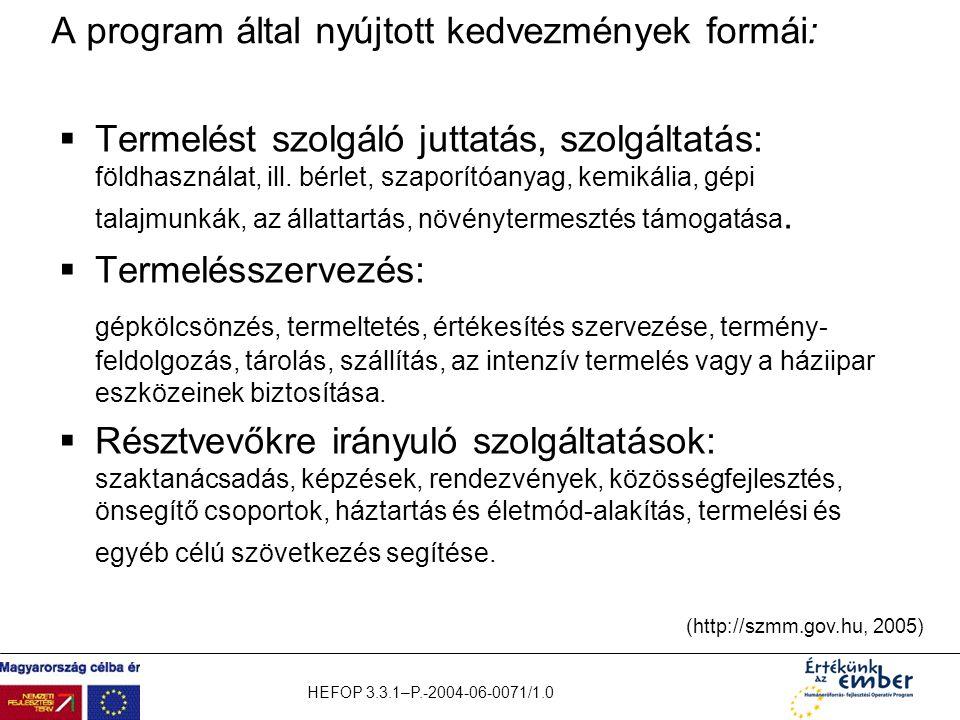 A program által nyújtott kedvezmények formái: