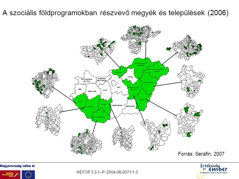 A szociális földprogramokban részvevő megyék és települések (2006)