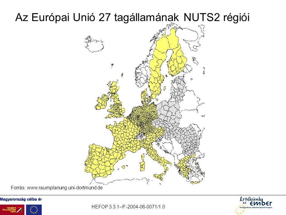 Az Európai Unió 27 tagállamának NUTS2 régiói
