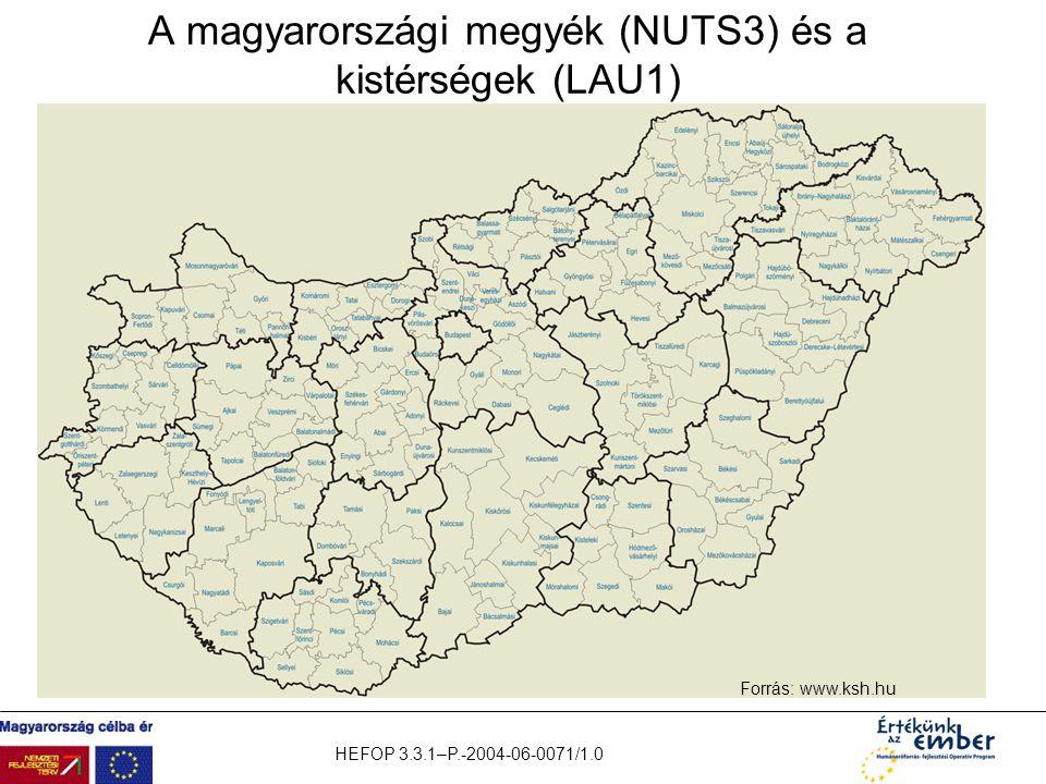 A magyarországi megyék (NUTS3) és a kistérségek (LAU1)