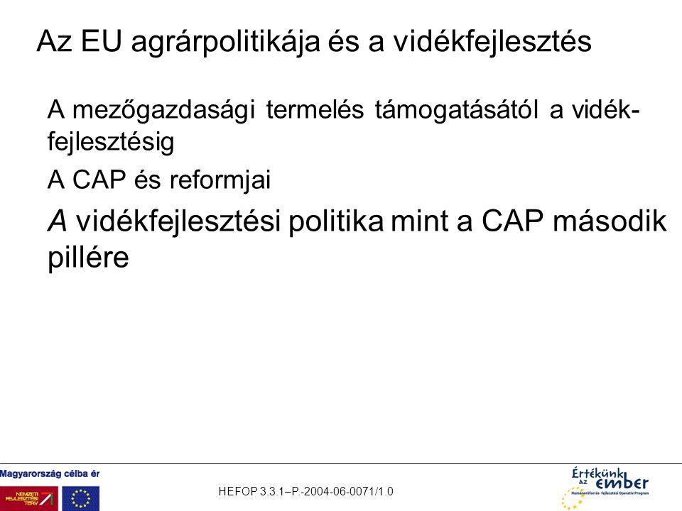 Az EU agrárpolitikája és a vidékfejlesztés