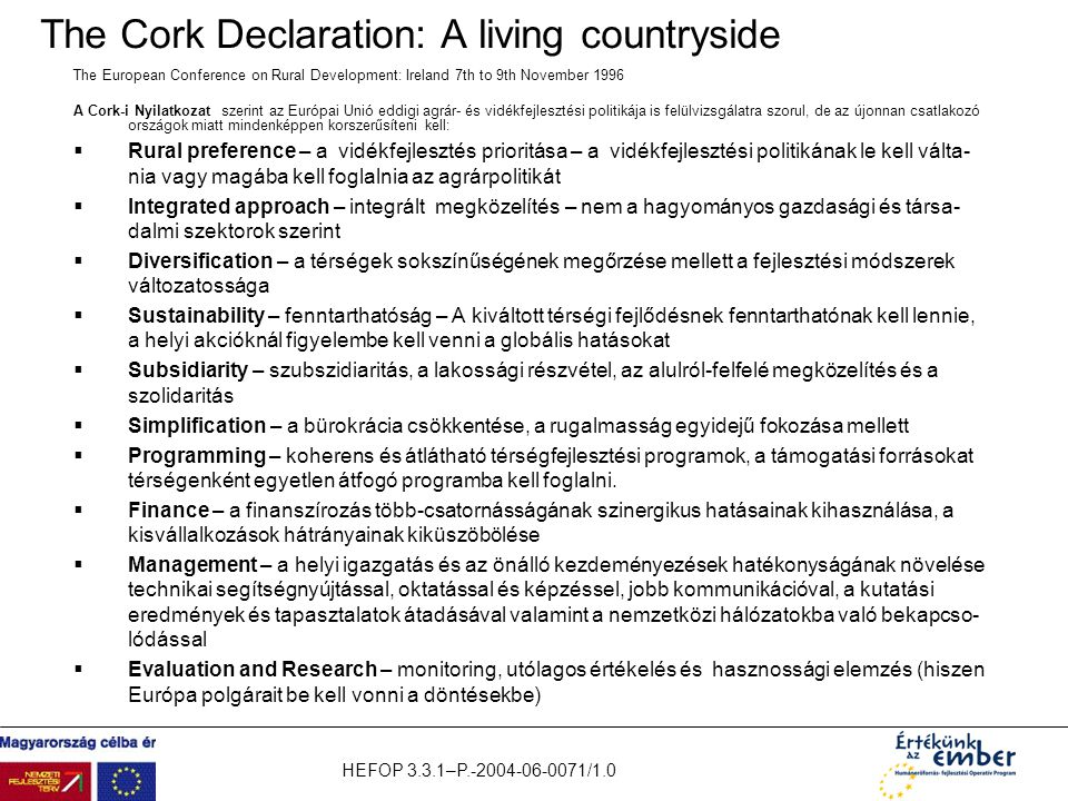 The Cork Declaration: A living countryside