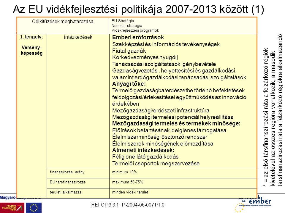 Az EU vidékfejlesztési politikája 2007-2013 között (1)