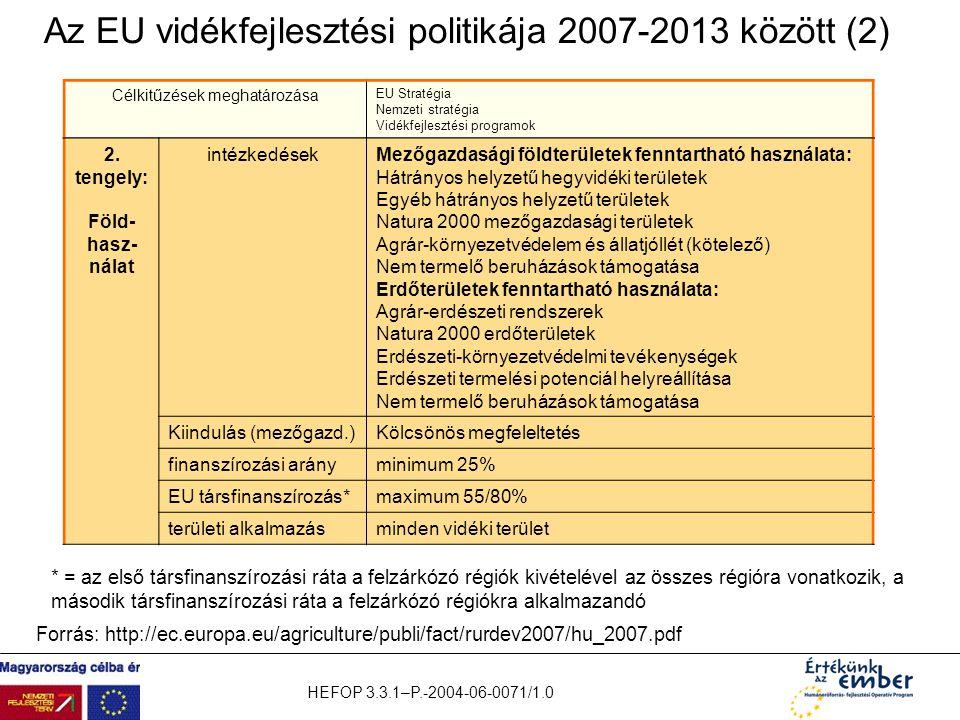 Az EU vidékfejlesztési politikája 2007-2013 között (2)