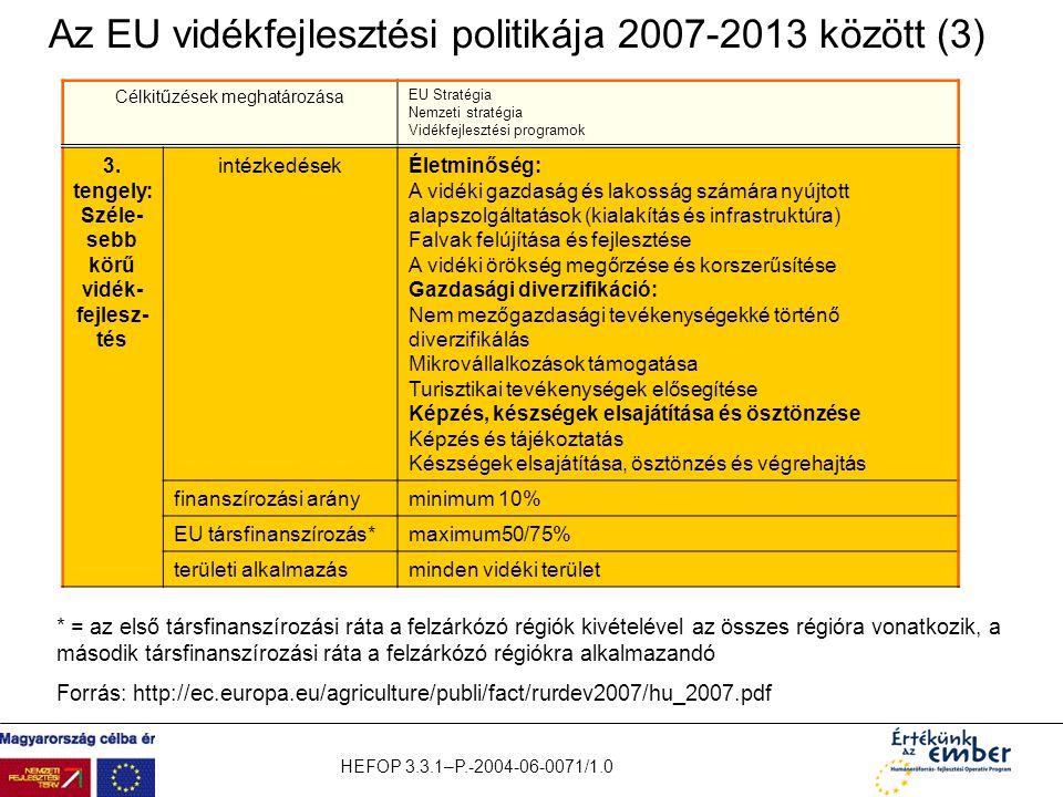 Az EU vidékfejlesztési politikája 2007-2013 között (3)
