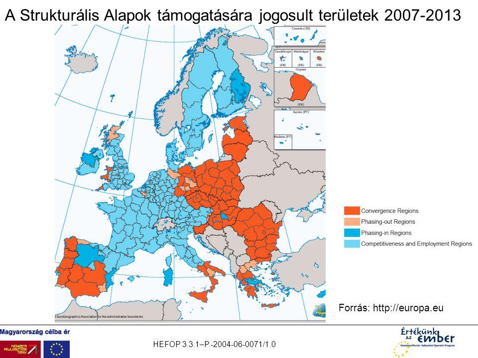 A Strukturális Alapok támogatására jogosult területek 2007-2013