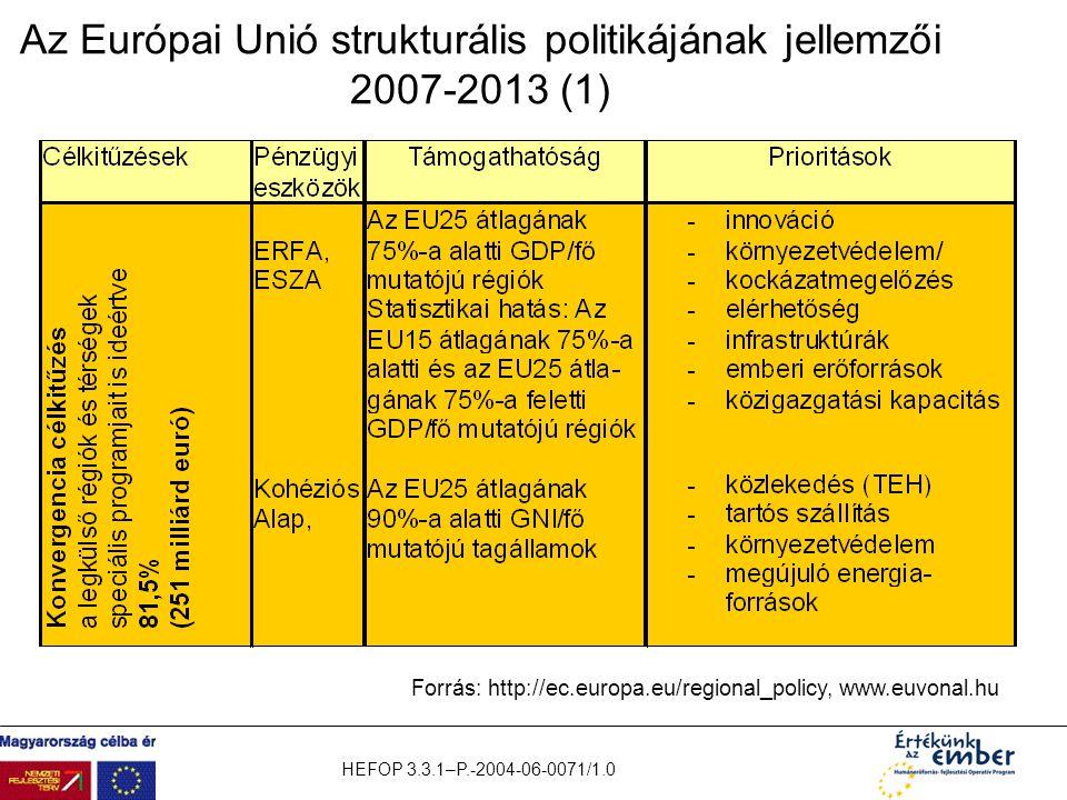 Az Európai Unió strukturális politikájának jellemzői 2007-2013 (1)