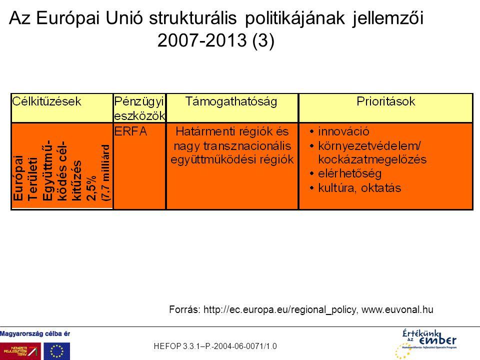 Az Európai Unió strukturális politikájának jellemzői 2007-2013 (3)