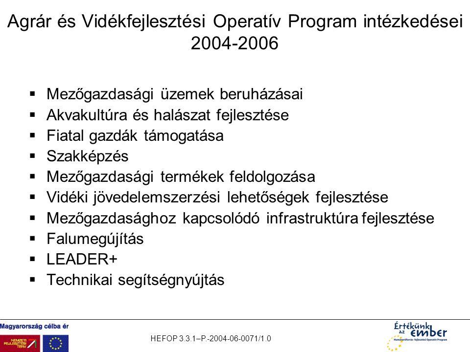 Agrár és Vidékfejlesztési Operatív Program intézkedései 2004-2006