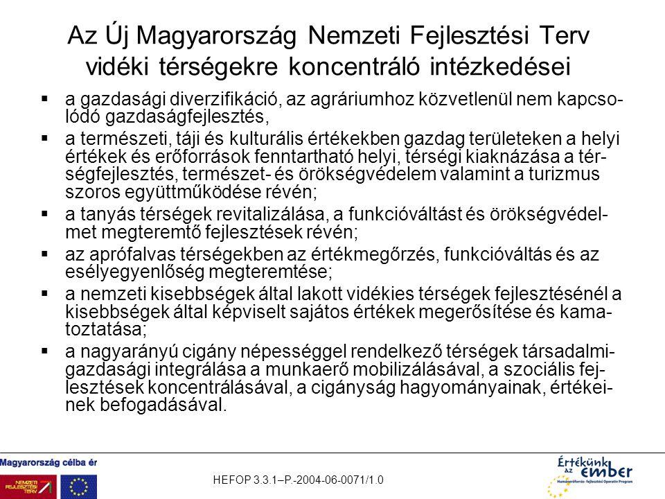 Az Új Magyarország Nemzeti Fejlesztési Terv vidéki térségekre koncentráló intézkedései