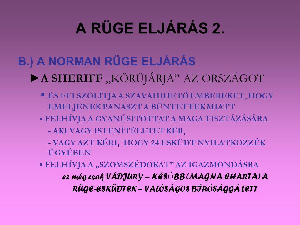 A RÜGE ELJÁRÁS 2. B.) A NORMAN RÜGE ELJÁRÁS