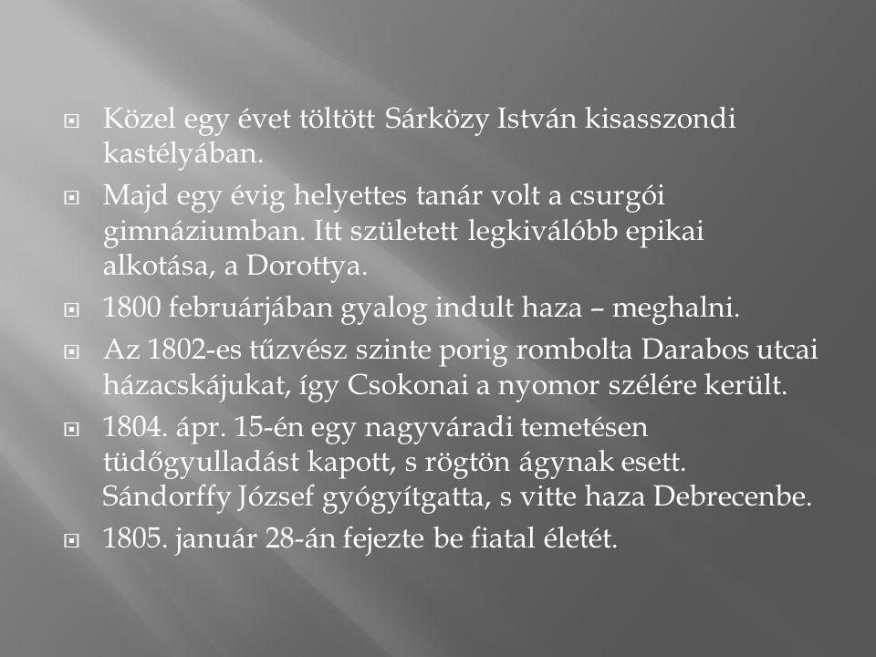 Közel egy évet töltött Sárközy István kisasszondi kastélyában.