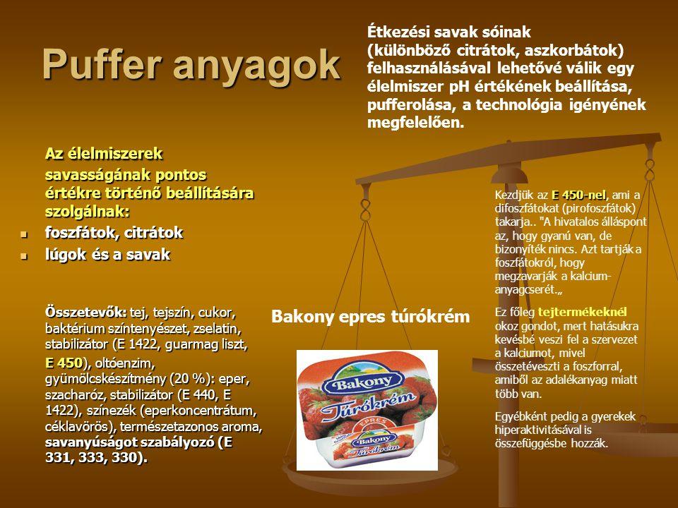 Puffer anyagok Étkezési savak sóinak.