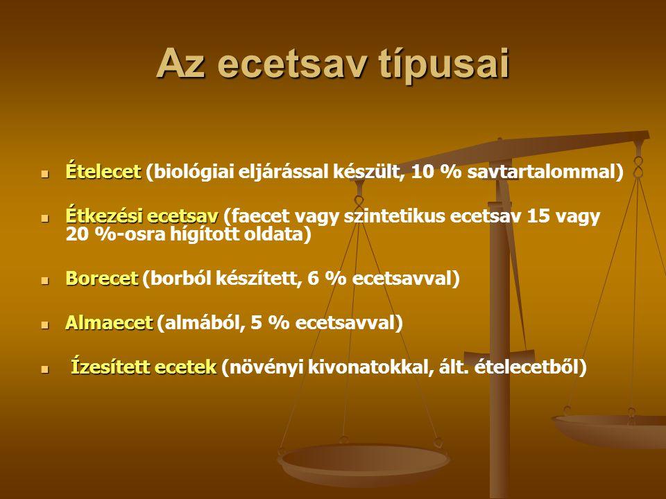 Az ecetsav típusai Ételecet (biológiai eljárással készült, 10 % savtartalommal)