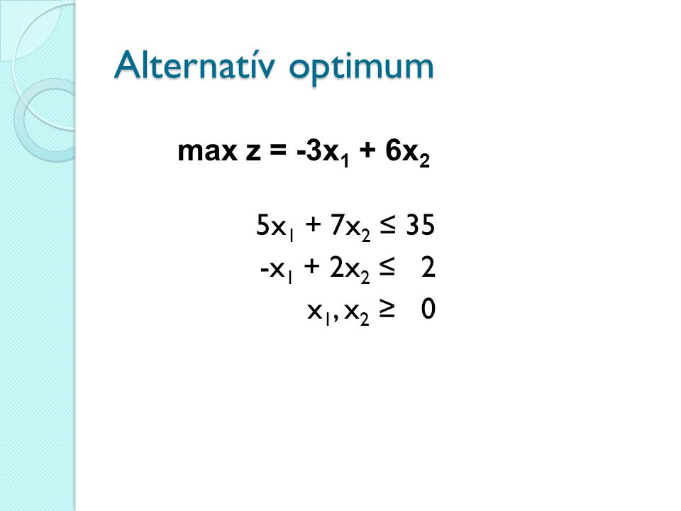 Alternatív optimum max z = -3x1 + 6x2