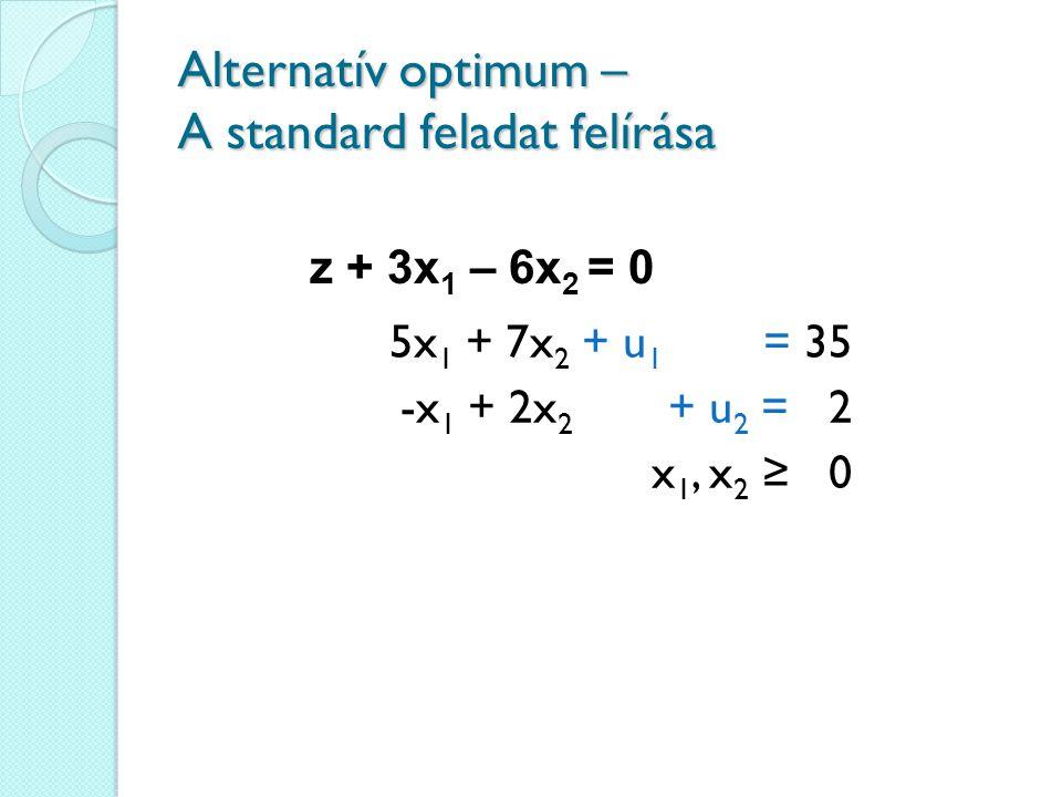 Alternatív optimum – A standard feladat felírása