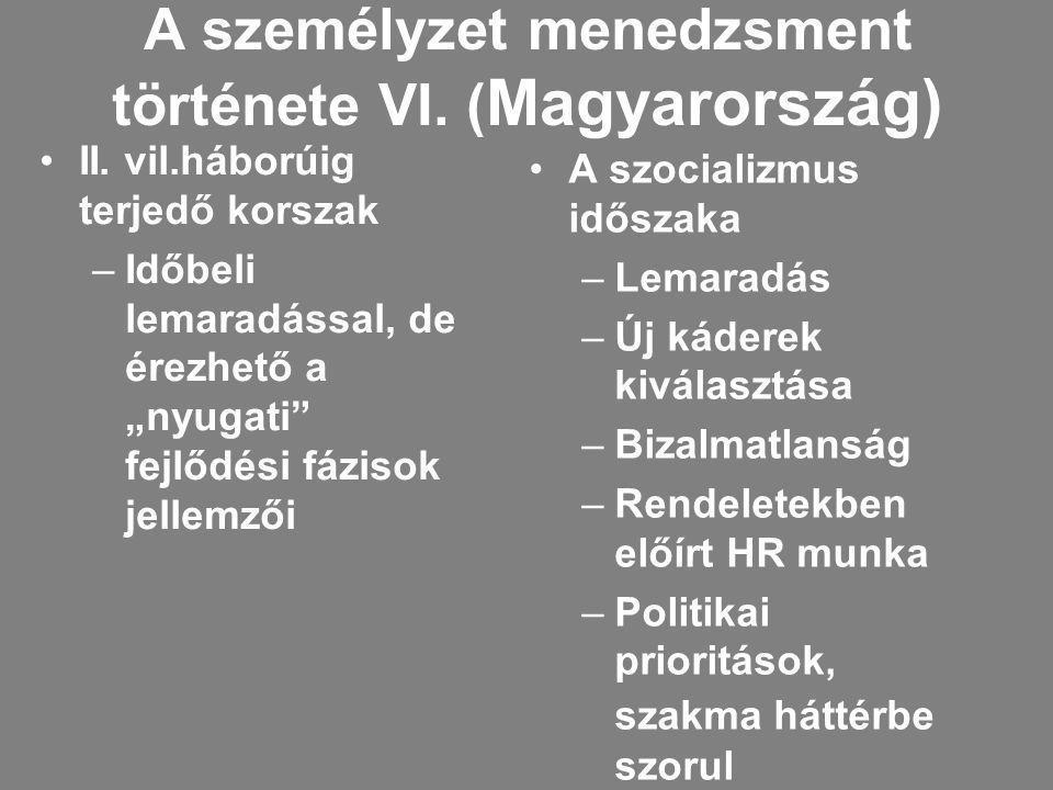 A személyzet menedzsment története VI. (Magyarország)