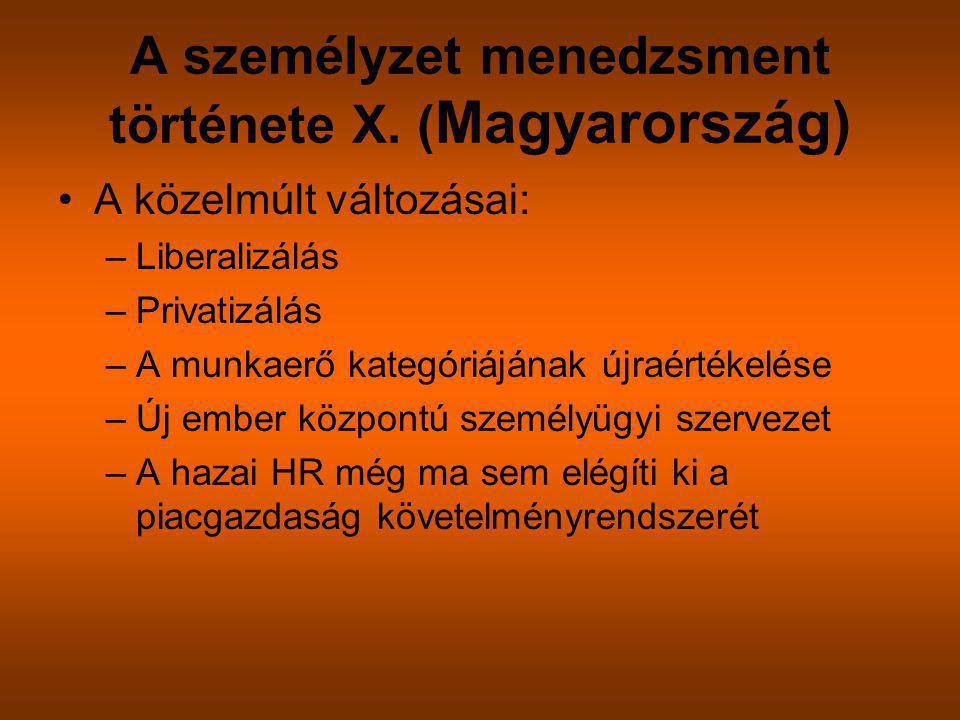 A személyzet menedzsment története X. (Magyarország)
