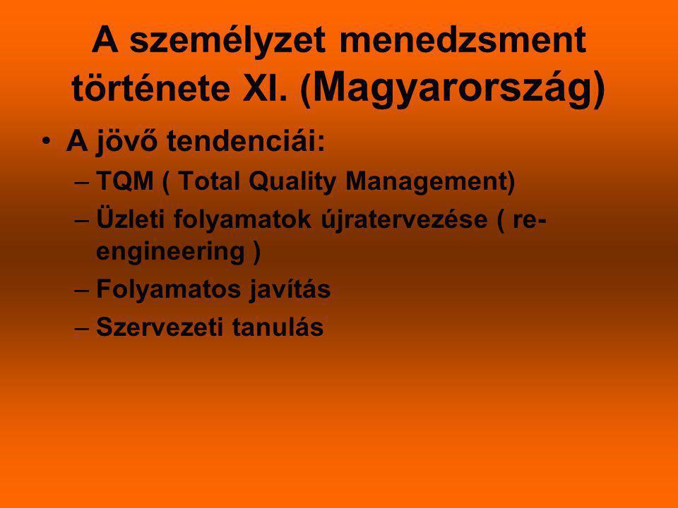 A személyzet menedzsment története XI. (Magyarország)