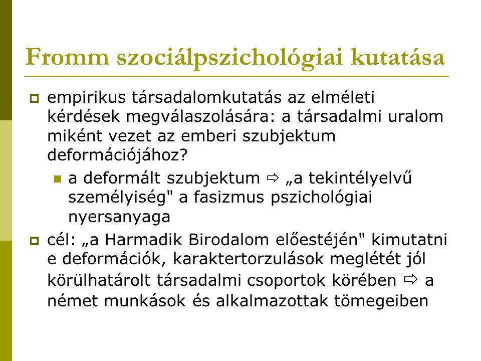 Fromm szociálpszichológiai kutatása