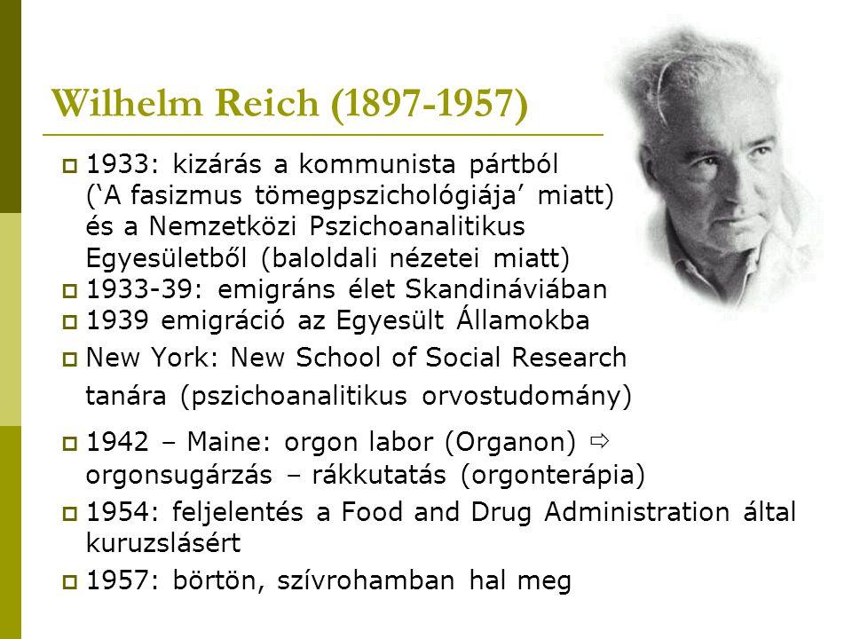 Wilhelm Reich (1897-1957) 1933: kizárás a kommunista pártból