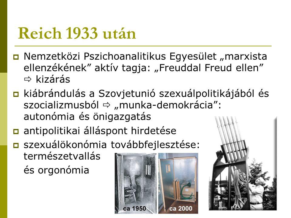 """Reich 1933 után Nemzetközi Pszichoanalitikus Egyesület """"marxista ellenzékének aktív tagja: """"Freuddal Freud ellen  kizárás."""