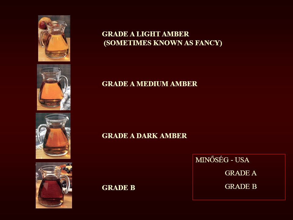 GRADE A LIGHT AMBER (SOMETIMES KNOWN AS FANCY) GRADE A MEDIUM AMBER. GRADE A DARK AMBER. GRADE B.