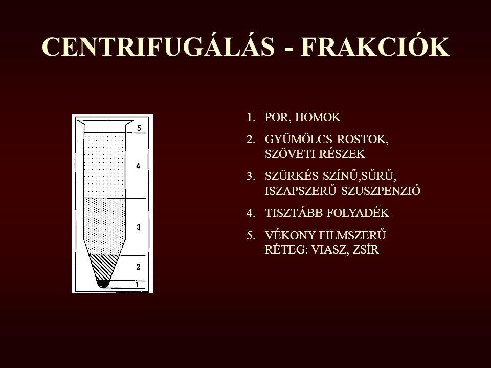 CENTRIFUGÁLÁS - FRAKCIÓK