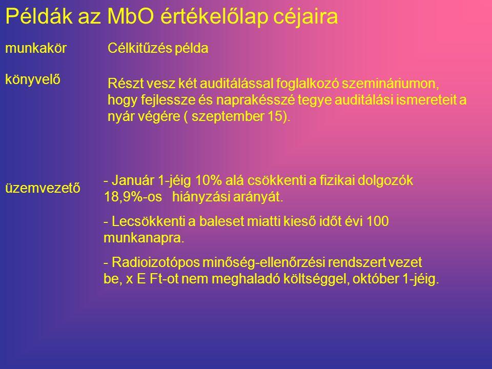 Példák az MbO értékelőlap céjaira