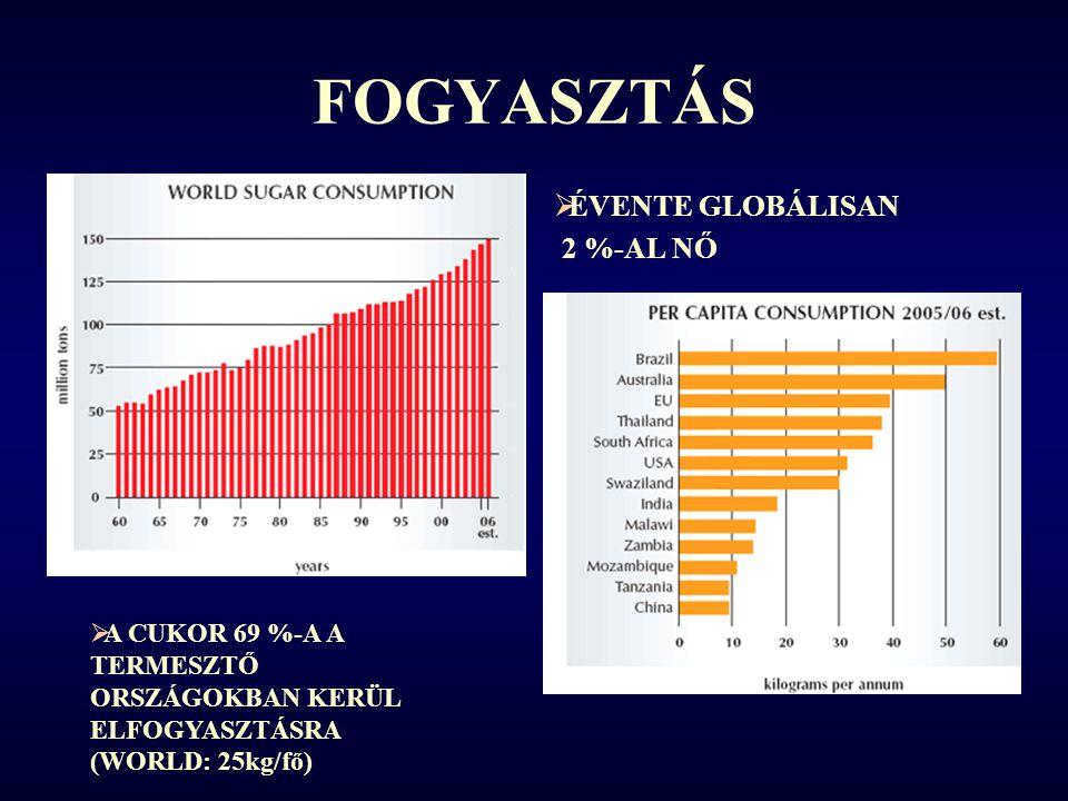 FOGYASZTÁS ÉVENTE GLOBÁLISAN 2 %-AL NŐ