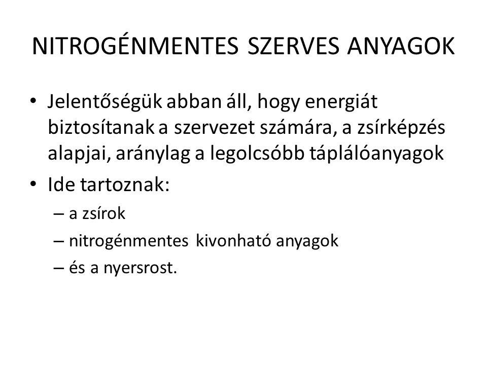 NITROGÉNMENTES SZERVES ANYAGOK