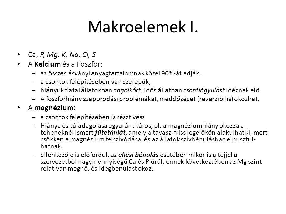 Makroelemek I. Ca, P, Mg, K, Na, Cl, S A Kalcium és a Foszfor: