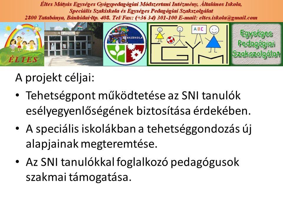 A projekt céljai: Tehetségpont működtetése az SNI tanulók esélyegyenlőségének biztosítása érdekében.