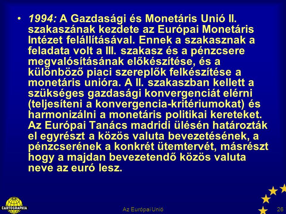 1994: A Gazdasági és Monetáris Unió II