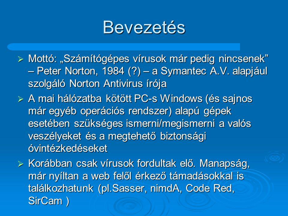 """Bevezetés Mottó: """"Számítógépes vírusok már pedig nincsenek – Peter Norton, 1984 ( ) – a Symantec A.V. alapjául szolgáló Norton Antivirus írója."""